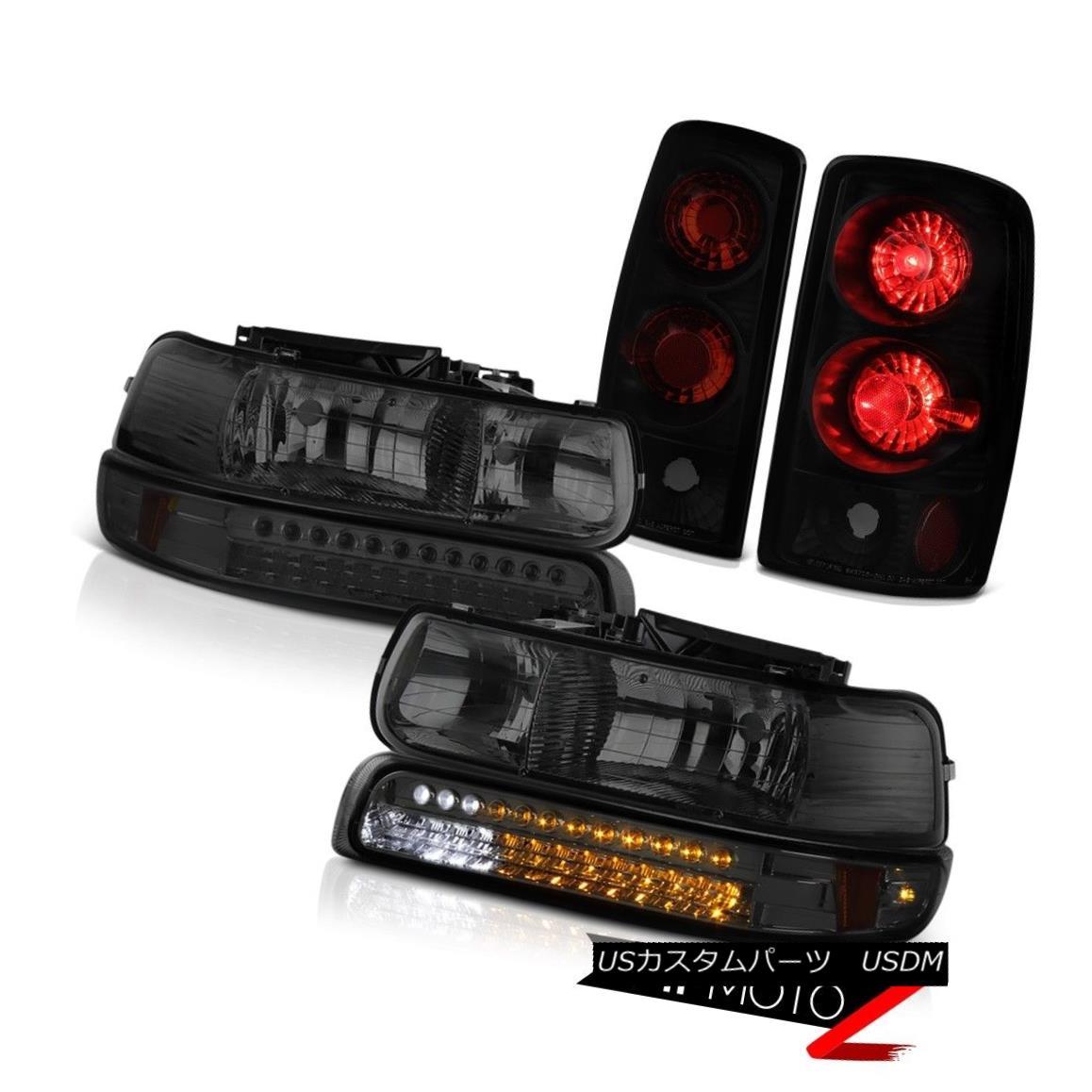 テールライト 00-06 Chevy Suburban 2500 Tinted Parking DRL Headlamps Sinister Black Tail Light 00-06シボレー郊外2500色付きの駐車場DRLヘッドランプSinister Black Tail Light