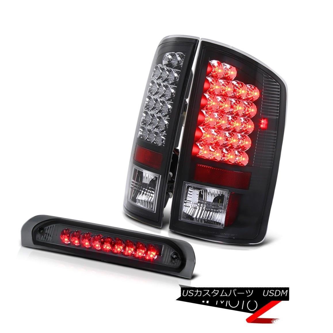 テールライト Dodge RAM 2007-2008 Black LED Diamond Tail Lamp+Smoke LED 3rd Third Brake Light ダッジRAM 2007-2008ブラックLEDダイヤモンドテールランプ+スモークLED第3の第3ブレーキライト