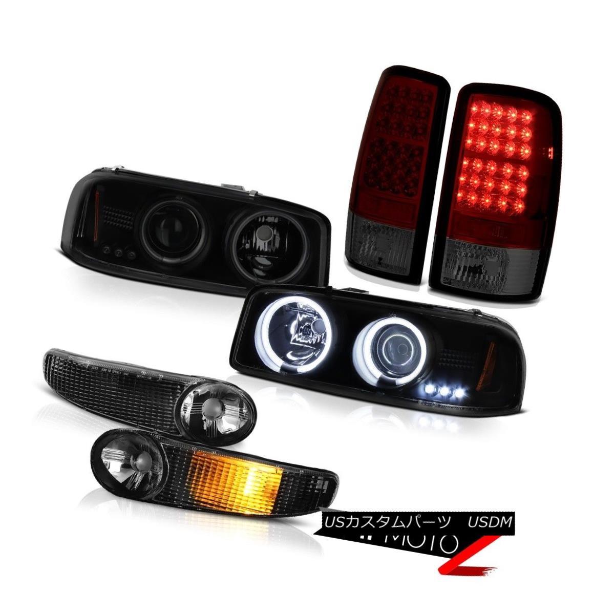 テールライト CCFL Halo Headlight Matte Signal Dark Red Tail Lights 2000-2006 GMC Yukon Denali CCFL Haloヘッドライトマットシグナルダークレッドテールライト2000-2006 GMC Yukon Denali