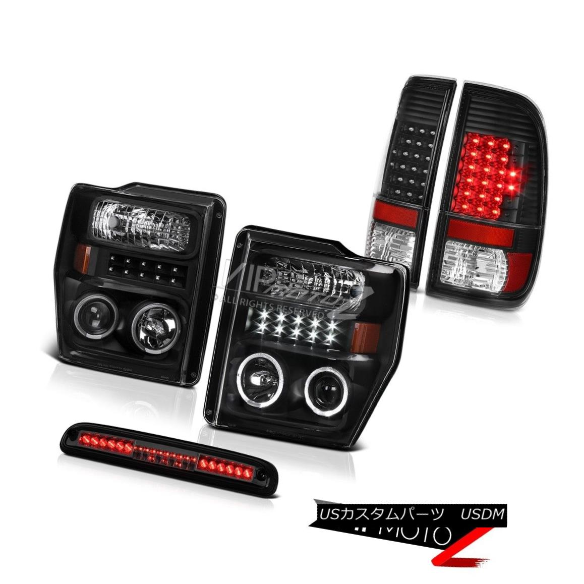テールライト 2008-2010 F350 Harley Davidson Dual Halo Headlights Black LED Tail Lights High 2008-2010 F350ハーレーダビッドソンデュアルヘイローヘッドライトブラックLEDテールライトハイ