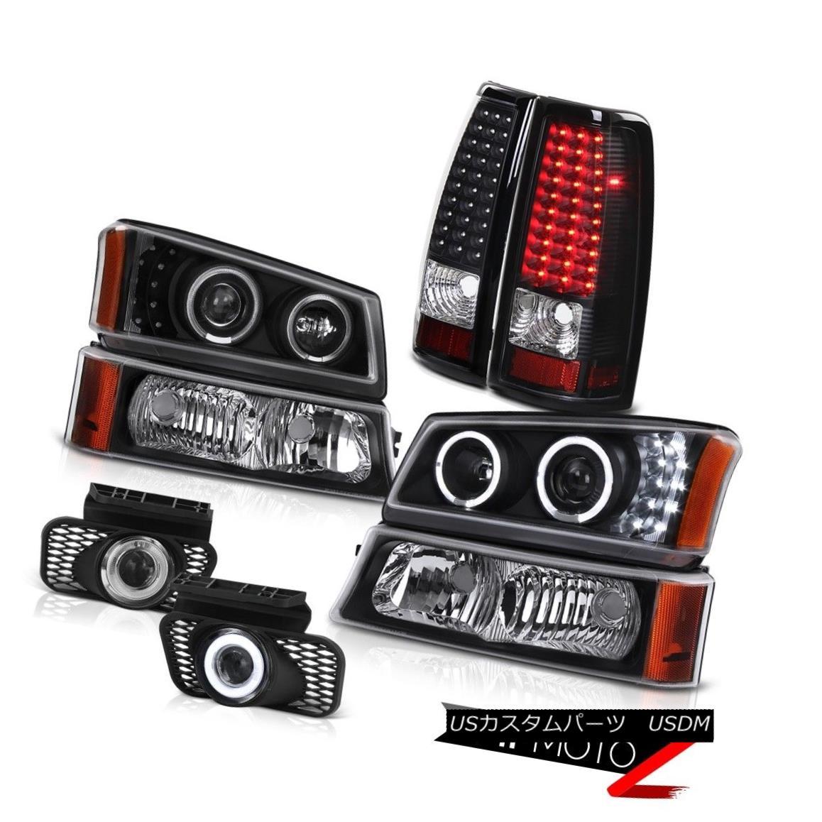 テールライト Dual Halo Headlight Black LED Taillights DRL Foglight 2003-2006 Silverado 2500HD デュアルヘイローヘッドライトブラックLEDテールライトDRLフォグライト2003-2006シルバラード2500HD