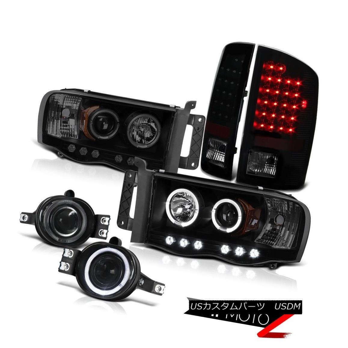 テールライト 02 03 04 05 Ram Hemi 5.7L WS Projector Front Halo Headlight Sinister Black Brake 02 03 04 05 Ram Hemi 5.7L WSプロジェクターフロントハローヘッドライトSinister Black Brake