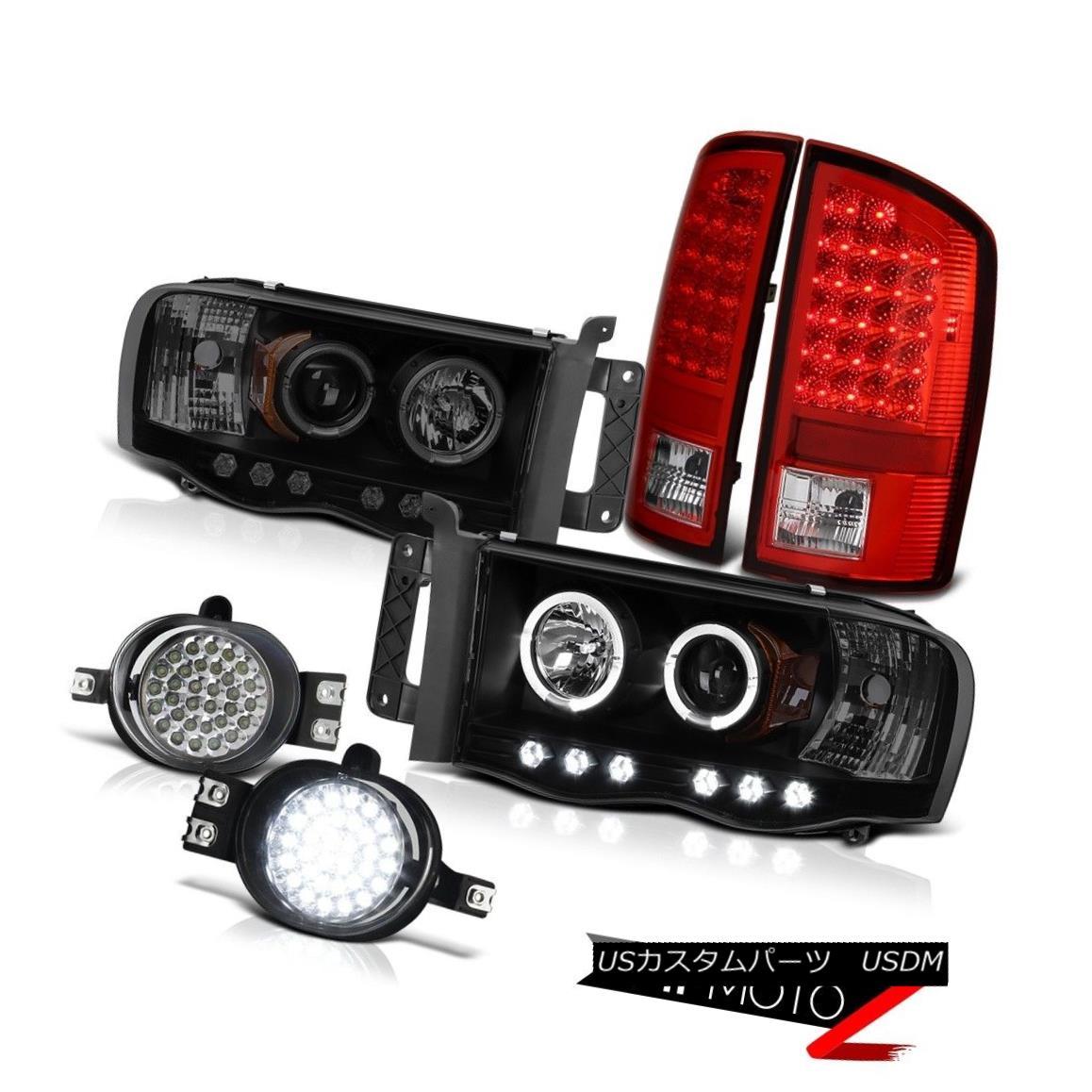 テールライト 2002 2003 Ram SRT-10 8.3L Laramie Headlights Halo LED Chrome Tail Lamps DRL Fog 2002 2003 Ram SRT-10 8.3LララミーヘッドライトHalo LEDクロームテールランプDRLフォグ