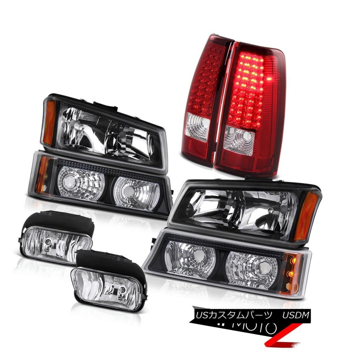テールライト 2003-2006 Silverado 5.3L Black Head Lamp Parking Bumper Euro LED Tail Lights Fog 2003-2006 Silverado 5.3LブラックヘッドランプパーキングバンパーユーロLEDテールライトフォグ
