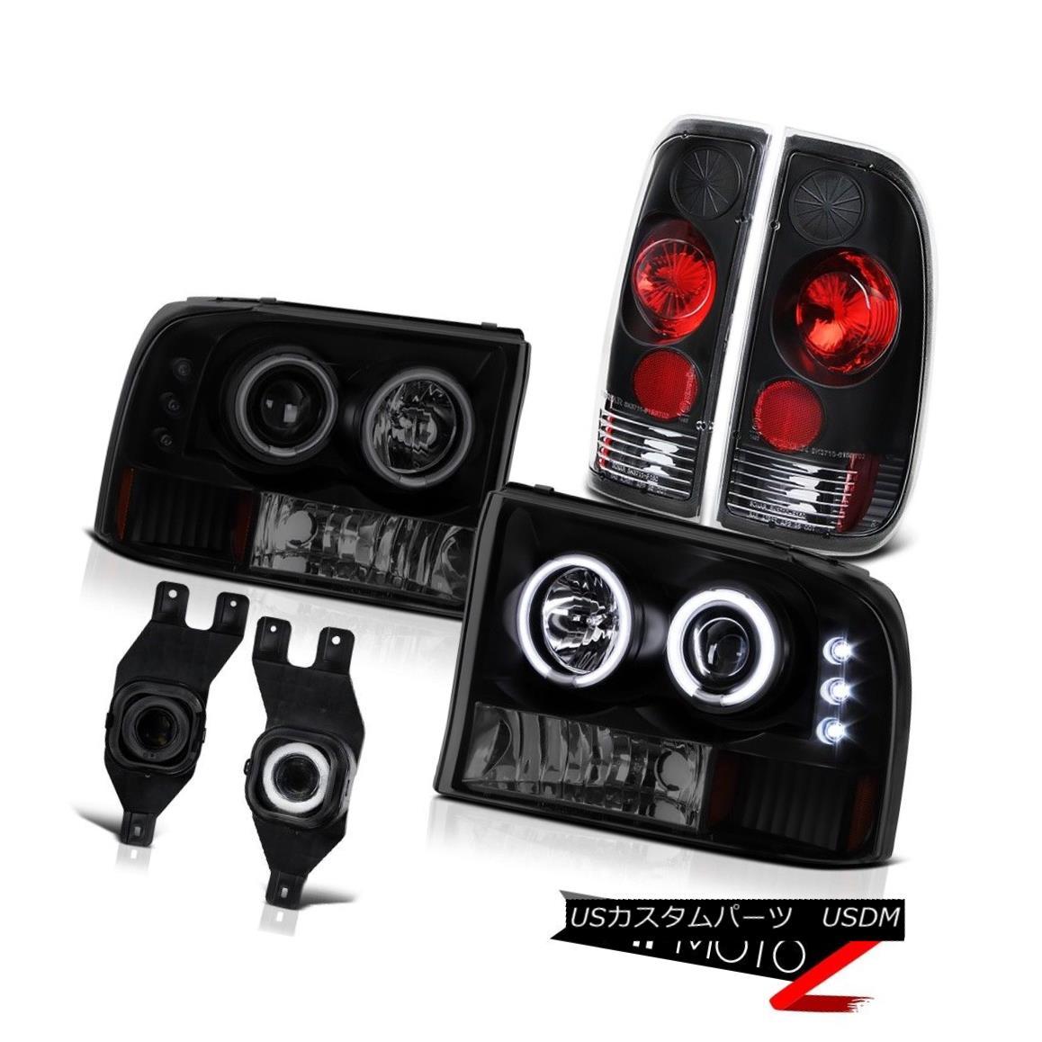 テールライト 99-04 Ford F-Series Super Duty Halo Headlight Smoke LED Rear Brake Light Foglamp 99-04 Ford FシリーズSuper Duty HaloヘッドライトスモークLEDリアブレーキライトFoglamp