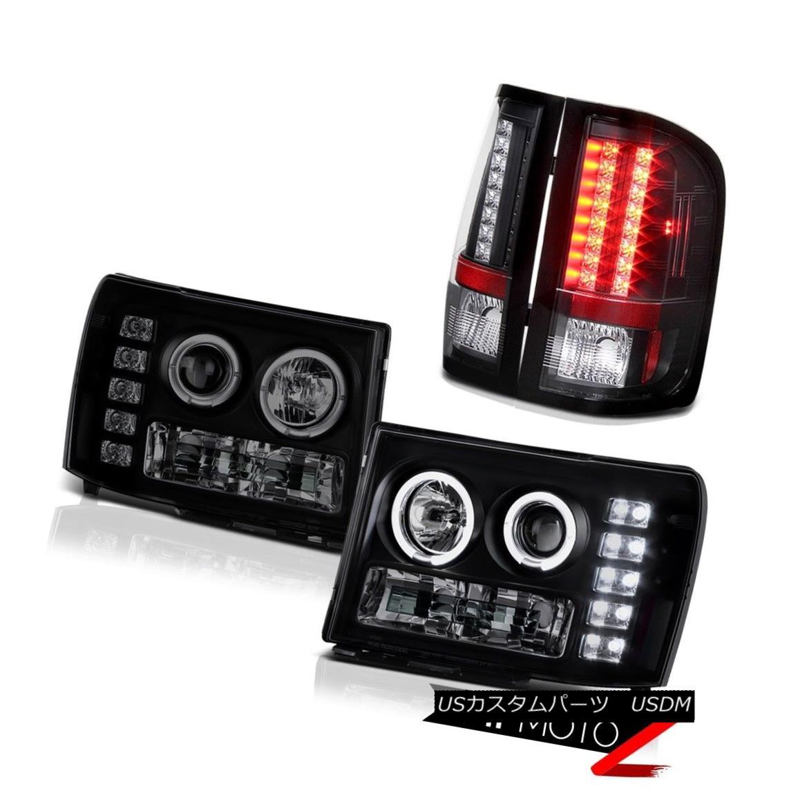 テールライト GMC Sierra 08-14 Dually SLE Halo SINSTER BLACK Headlights SMD Brake Tail Lights GMC Sierra 08-14二重SLE Halo SINISTER BLACKヘッドライトとブレーキテールライト