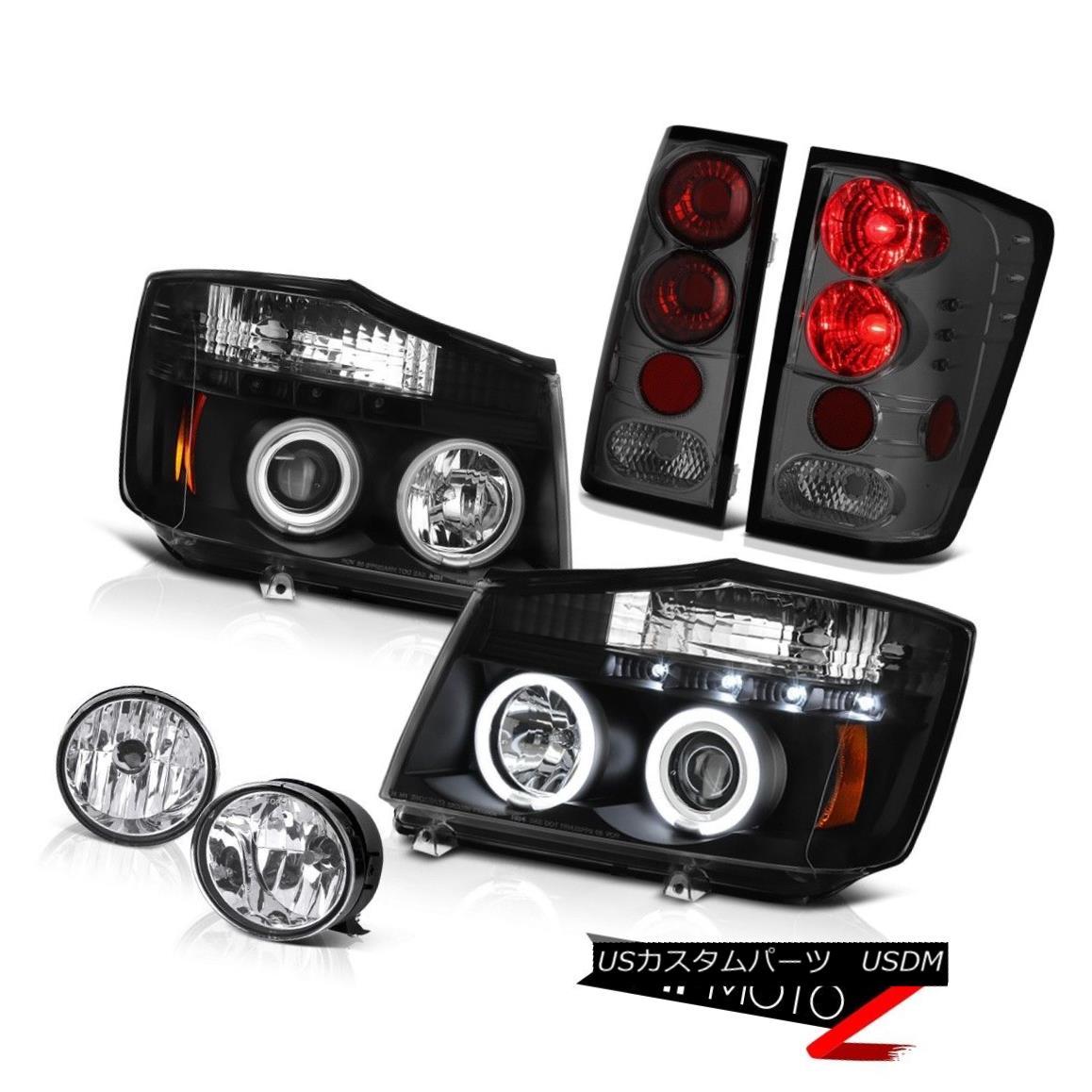 テールライト For 2004-2015 Titan LE Black CCFL Angel Eye Headlight Smoke Taillight Bumper Fog 2004年から2015年の間タイタンLEブラックCCFLエンジェルアイヘッドライトスモークテールライトバンパーフォグ