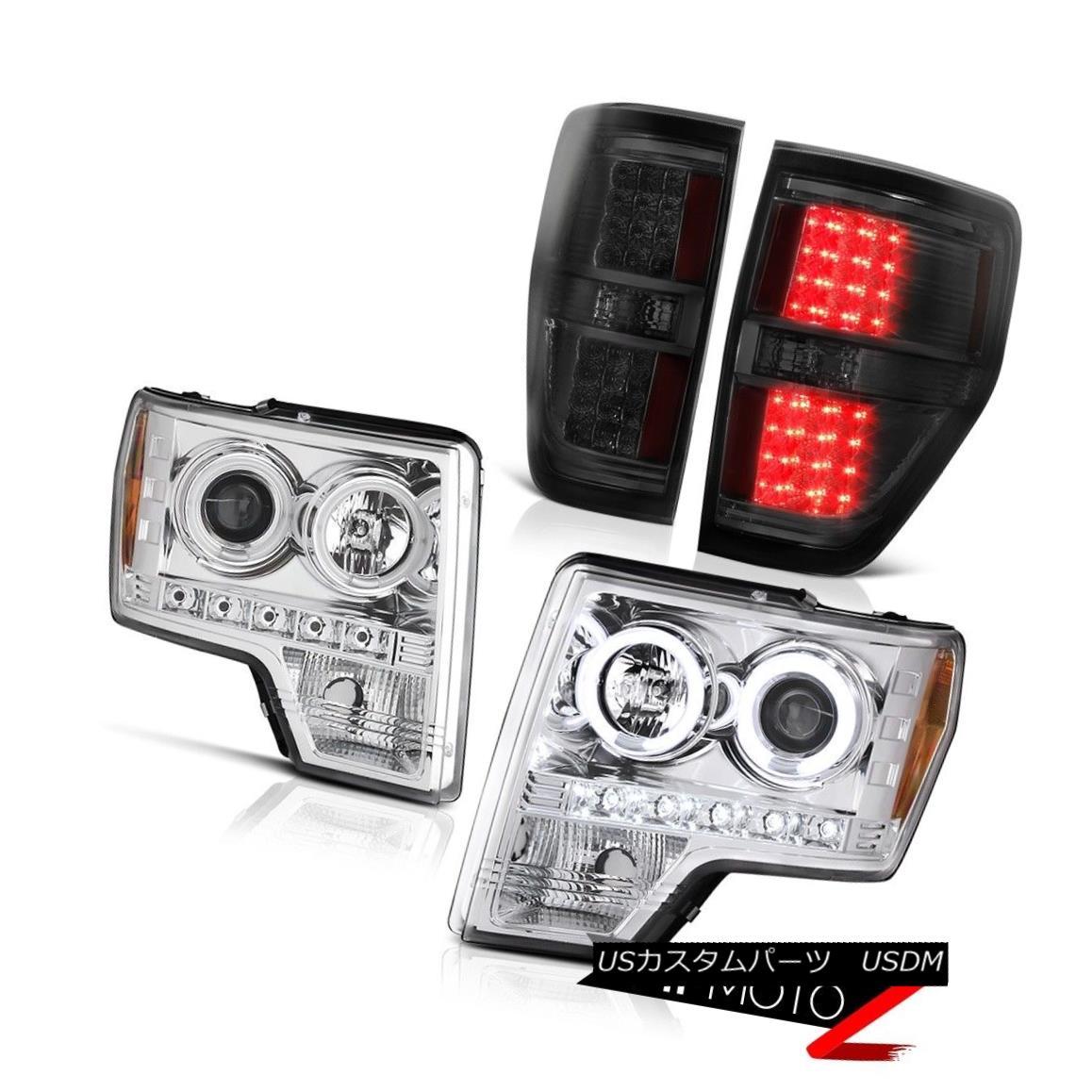 テールライト 2009-2014 F150 SXT Euro Chrome CCFL Halo Ring Head Lights LED Bulbs Tail Lights 2009-2014 F150 SXTユーロクロームCCFLハローリングヘッドライトLED電球テールライト