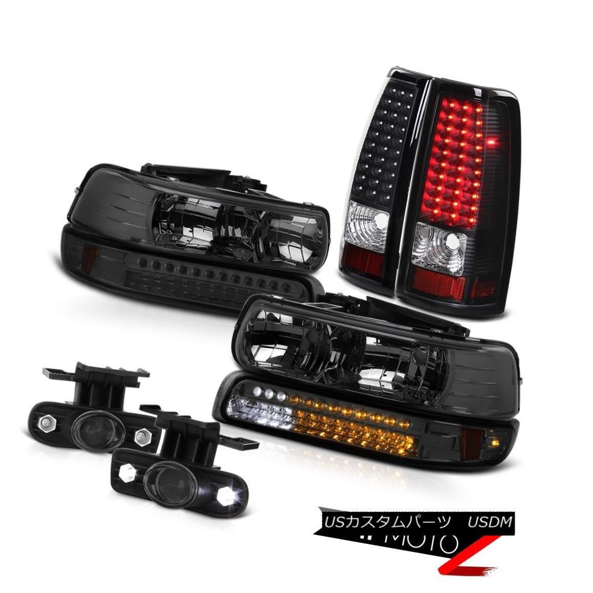 テールライト 99-2002 Silverado 4.3L V8 Headlamps Smoke DRL LED Tail Lamps Projector Foglight 99-2002 Silverado 4.3L V8ヘッドライト煙DRL LEDテールランププロジェクターFoglight