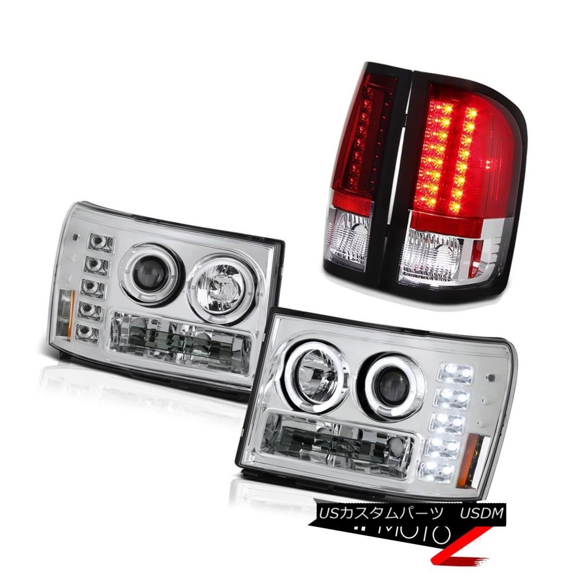 テールライト 08-14 GMC Sierra 6.0L WT Angel Eye Projector Headlight LED Bulb Brake Tail Light 08-14 GMC Sierra 6.0L WTエンジェルアイプロジェクターヘッドライトLED電球ブレーキテールライト