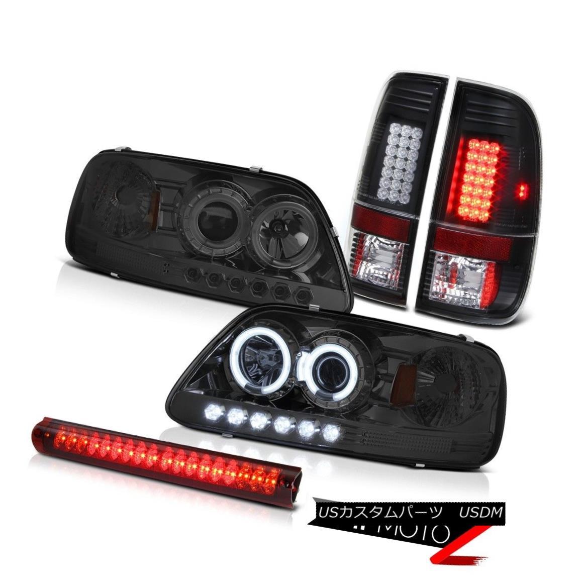 テールライト CCFL Angel Eye Headlight Black LED Tail Lamp Wine Red 3rd Brake Light 97-03 F150 CCFLエンジェルアイヘッドライトブラックLEDテールランプワインレッド第3ブレーキライト97-03 F150
