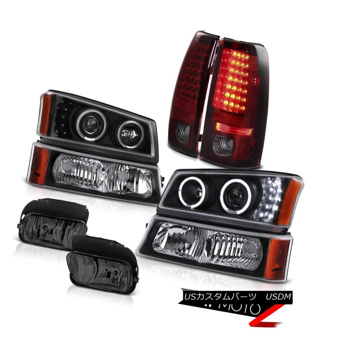 テールライト 03-06 Silverado 2500HD LED Projector Headlights Dark RED Tail Driving Foglights 03-06 Silverado 2500HD LEDプロジェクターヘッドライトダークREDテールドライフォグライト