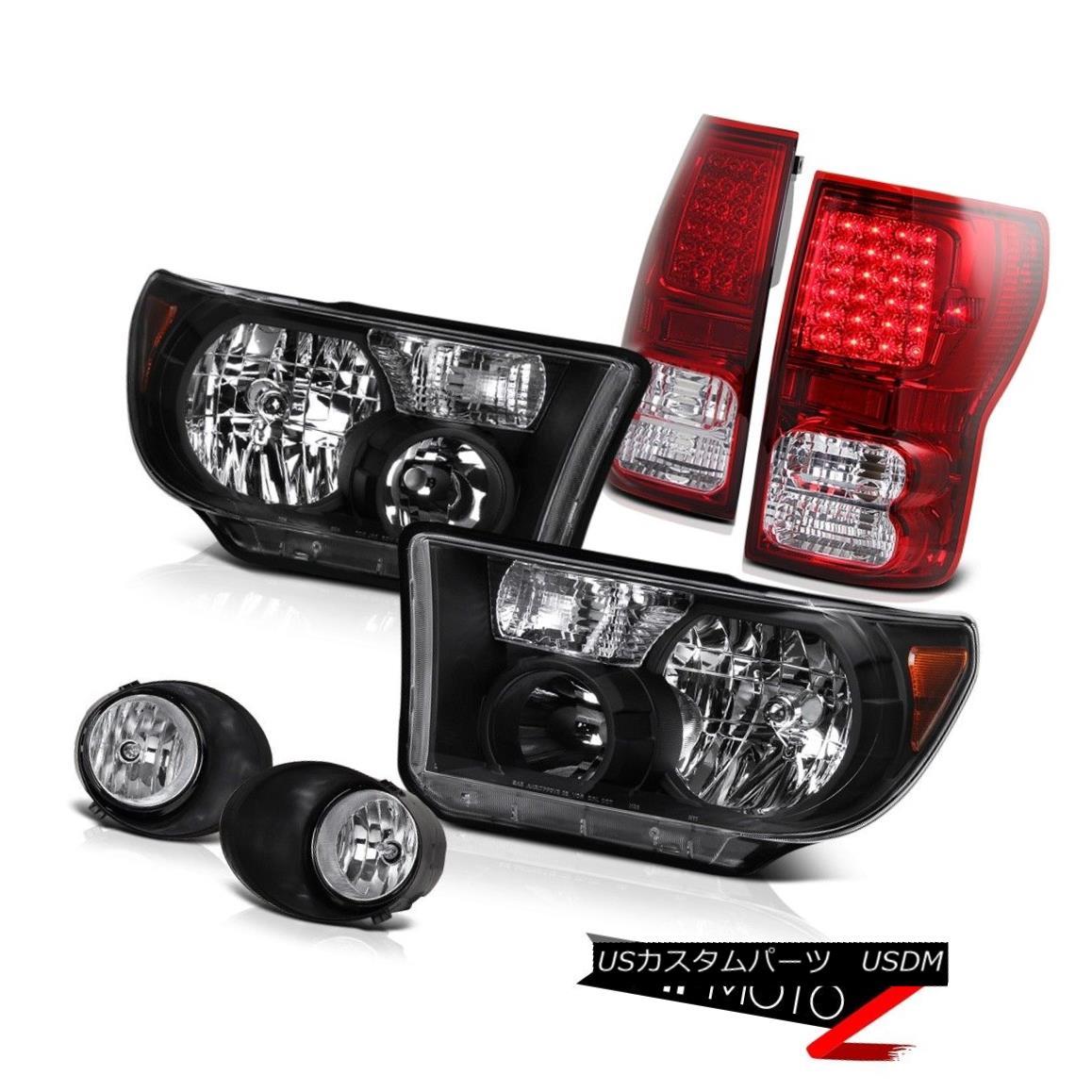テールライト Black L+R Headlight+Led Tail Light+Fog Lamp Toyota Tundra 07-2013 ブラックL + Rヘッドライト+ Ledテールライト+ FogランプToyota Tundra 07-2013