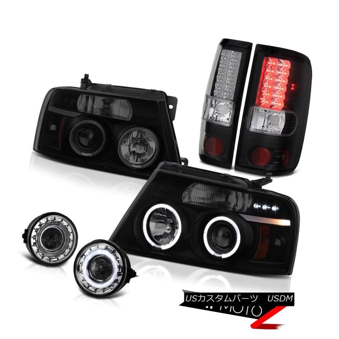 テールライト 2X Halo LED Projector Headlamp Black Taillamps Relay Foglights 2004-2008 F150 2X Halo LEDプロジェクターヘッドランプブラックタイヤランプリレーFoglights 2004-2008 F150