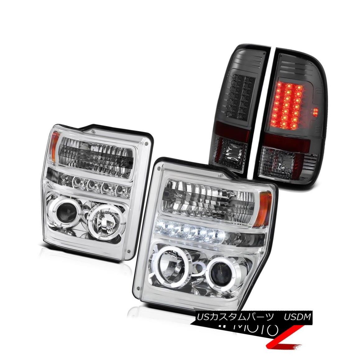 テールライト Chrome Halo LED Headlights Dark Brake Tail Lights Ford F350 Powerstroke XL 08-10 クロームハローLEDヘッドライトダークブレーキテールライトフォードF350パワーストロークXL 08-10
