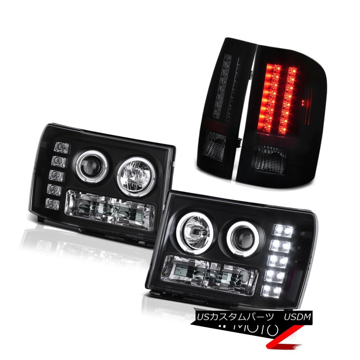 テールライト GMC Sierra 3500 08-14 Dually Denali 2x Halo Ring Headlights L.E.D Rear Tail Lamp GMC Sierra 3500 08-14デュアルデナリ2xハローリングヘッドライトL.E.Dリアテールランプ