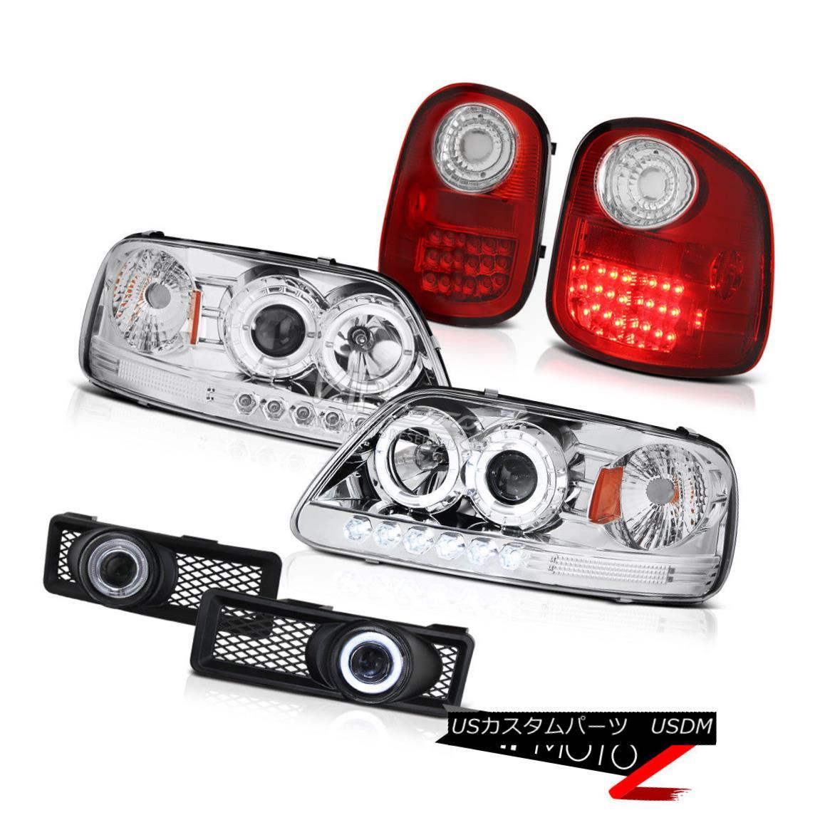 テールライト Halo Projector {CHRoME} Headlight+{RED/CLEAR} LED Tail Light+Fog Lamp 97-98 F150 Halo Projector {CHRoME}ヘッドライト+ {RED / CLEAR} LEDテールライト+フォグランプ97-98 F150