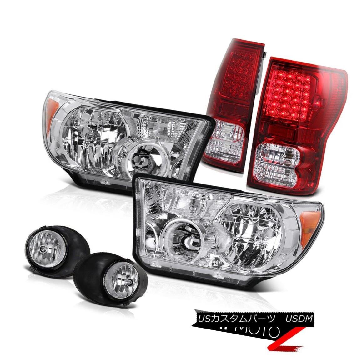 テールライト Crystal Replacement Headlamp+Led Tail Light+Fog Lamp Toyota Tundra 07-13 クリスタル交換ヘッドランプ+ Ledテールライト+フォグランプトヨタTundra 07-13