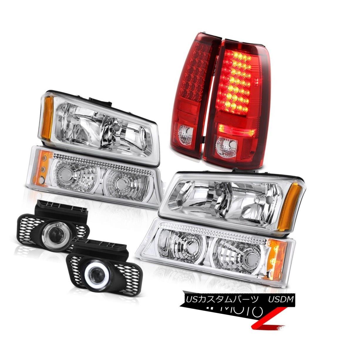 テールライト Euro Chrome Headlight Bumper LED Taillights SMD DRL Foglights 05 06 Silverado LT ユーロクロームヘッドライトバンパーLEDテールライトSMD DRL Foglights 05 06 Silverado LT