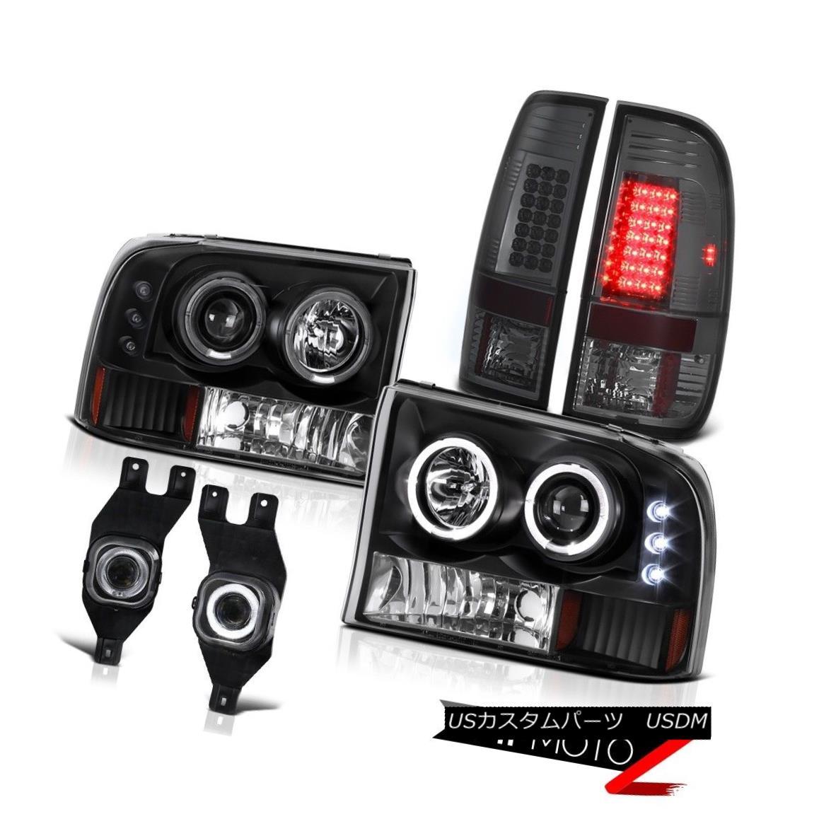 テールライト Black Corner Bumper Halo Headlights Foglamps LED Smoke Tail Lights F250 F350 ブラックコーナーバンパーヘイローヘッドライトFoglamps LED煙テールライトF250 F350
