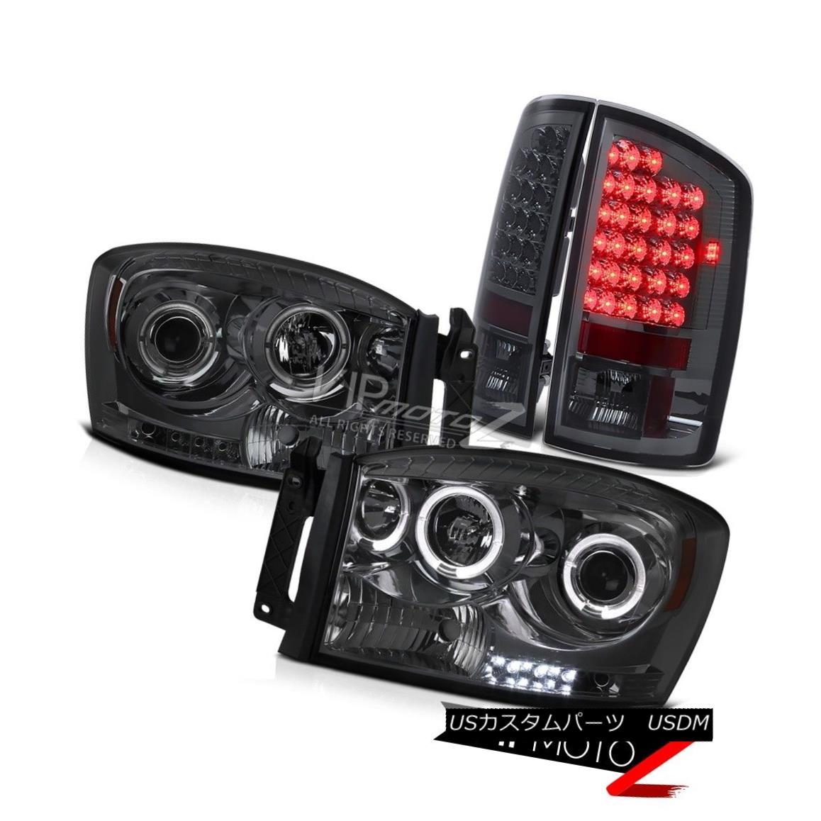 テールライト Smoke Projector Halo Headlight+LED Tail Light Signal Lamp 07-08 Dodge Ram 1500 煙プロジェクターHaloヘッドライト+ LEDテールライトシグナルランプ07-08 Dodge Ram 1500