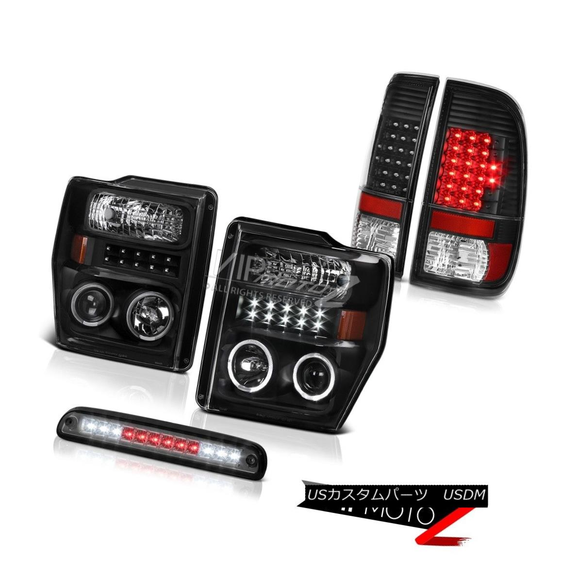 テールライト 2008-2010 F250 King Ranch L.E.D DRL Halo Headlights Reverse Tail Lights Tinted 2008-2010 F250キングランチL.E.D DRLハローヘッドライトテールライトテクスチャ
