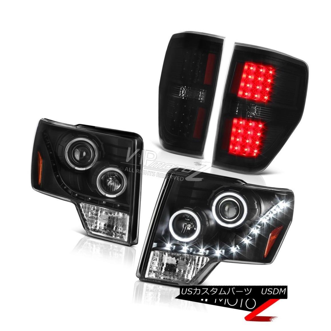 テールライト 09 10 11 12 13 14 F150 3.5L Black Halo LED Headlights Signal Parking Taillights 09 10 11 12 13 14 F150 3.5LブラックハローLEDヘッドライト信号駐車ミラー