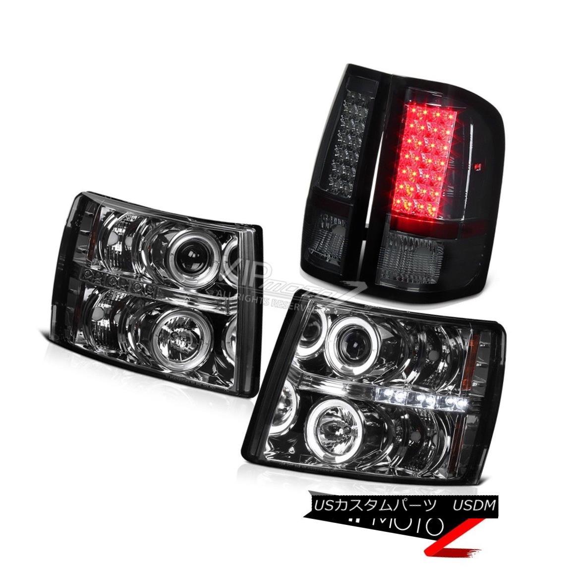 テールライト 4PC Chevy Silverado 2007-2014 GMT Smoke Projector Headlight LED Halo Tail Lamp 4PC Chevy Silverado 2007-2014 GMT煙プロジェクターヘッドライトLED Haloテールランプ