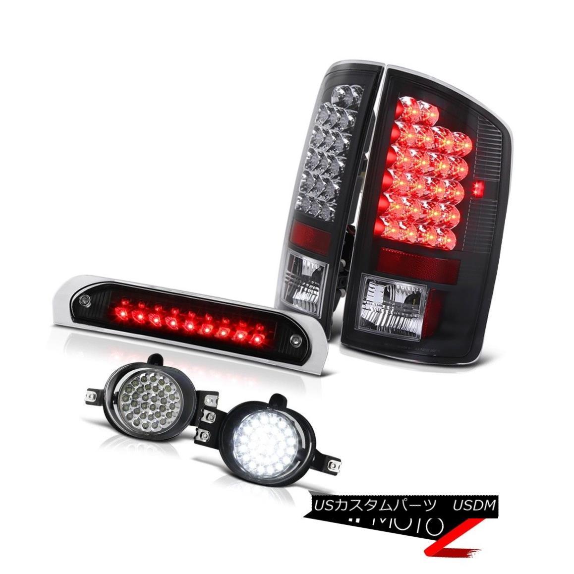 テールライト Matte Black Tail Lights LED Foglamps Third Brake 2007-2008 Dodge Ram Magnum V8 マットブラックテールライトLEDフォグライト第3ブレーキ2007-2008ダッジラムマグナムV8