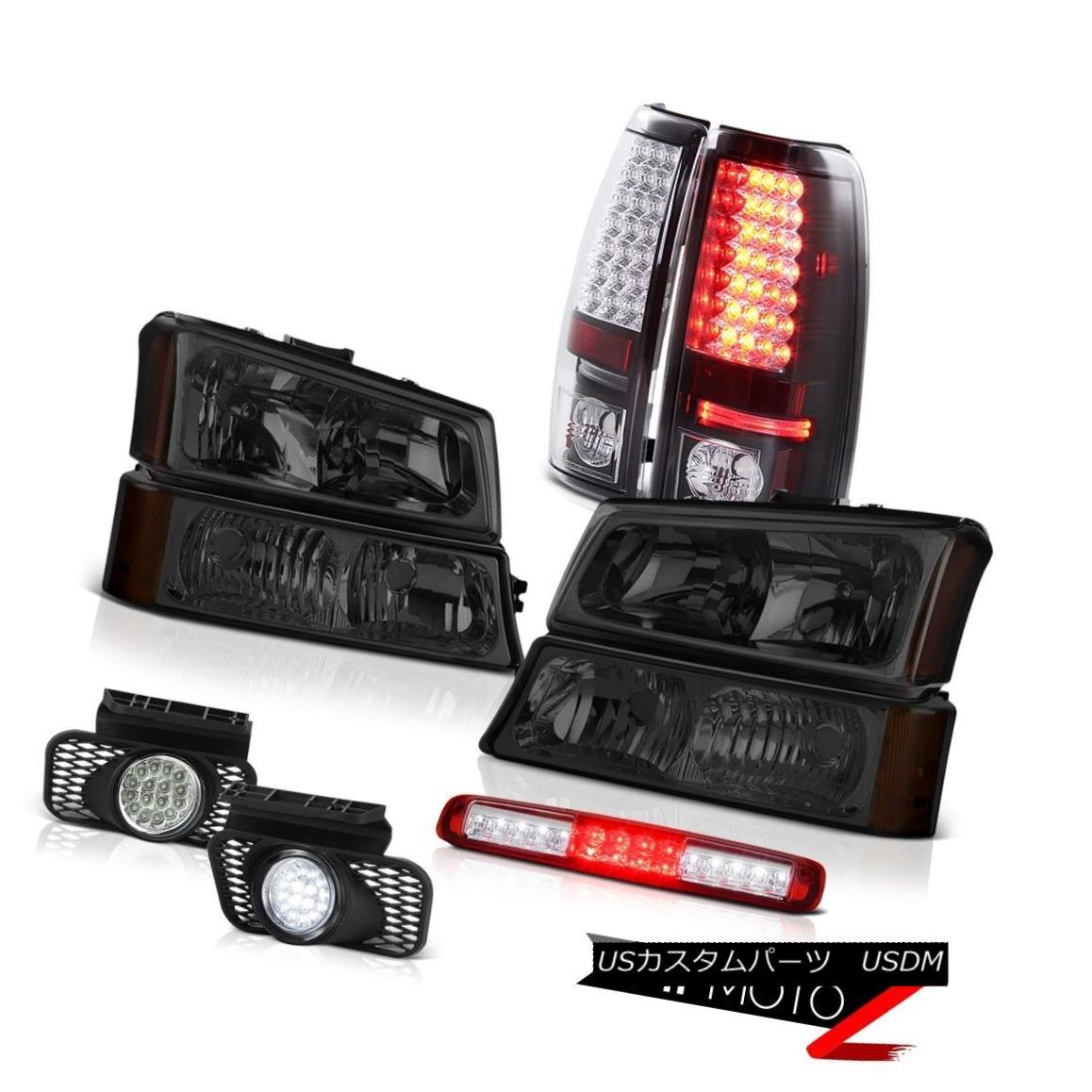 テールライト 2003-2006 Chevy Silverado Smoked Headlamps Red Roof Brake Light Fog Lamps Tail 2003年?2006年シボレーシルバラードスモークヘッドランプレッドルーフブレーキライトフォグランプテール