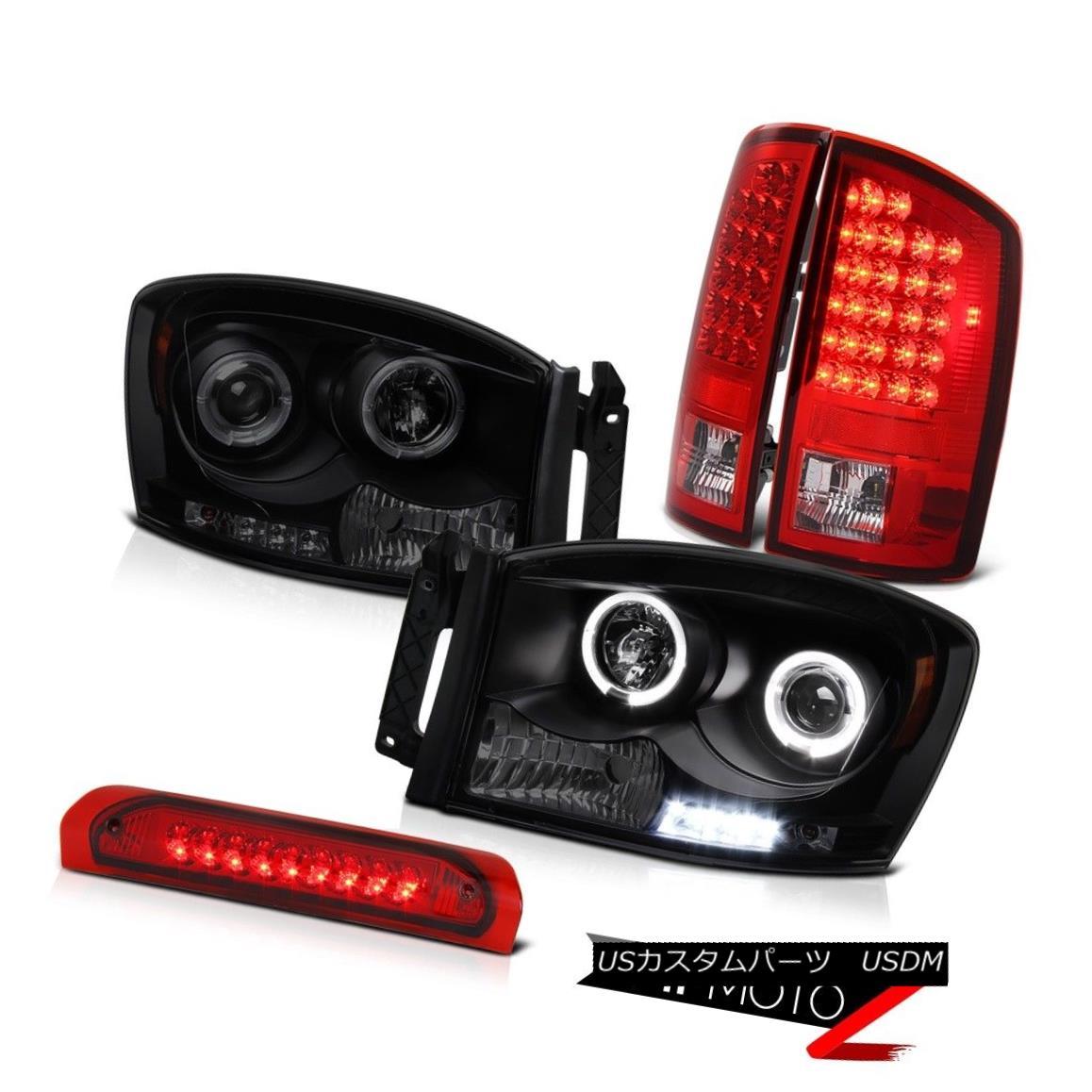 テールライト 2006 Dodge Ram 5.9L Projector Dark Angel Eye Headlight LED Top Mount Brake Lamps 2006ダッジラム5.9LプロジェクターダークエンジェルアイヘッドライトLEDトップマウントブレーキランプ