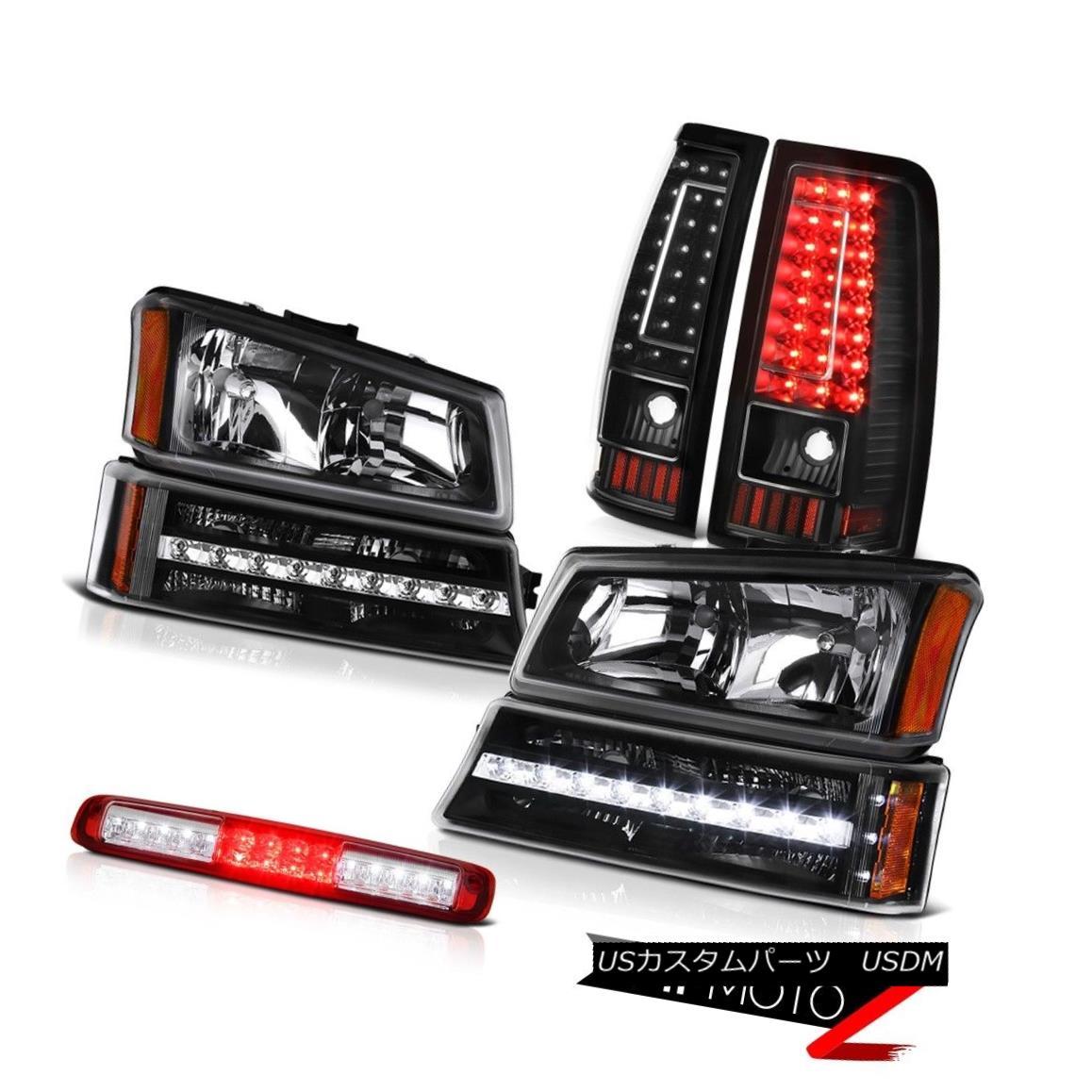 テールライト 03-06 Chevy Silverado 1500 High Stop Light Black Tail Lamps Parking Headlamps 03-06 Chevy Silverado 1500ハイストップライトブラックテールランプパーキングヘッドランプ