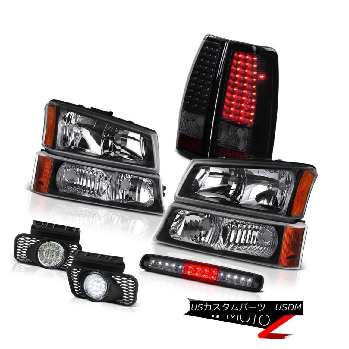 テールライト 03 04 05 06 Silverado Inky Black Headlamps High Stop Lamp Foglights Taillights 03 04 05 06シルバラードインキブラックヘッドランプハイストップランプフォグライトテールライト