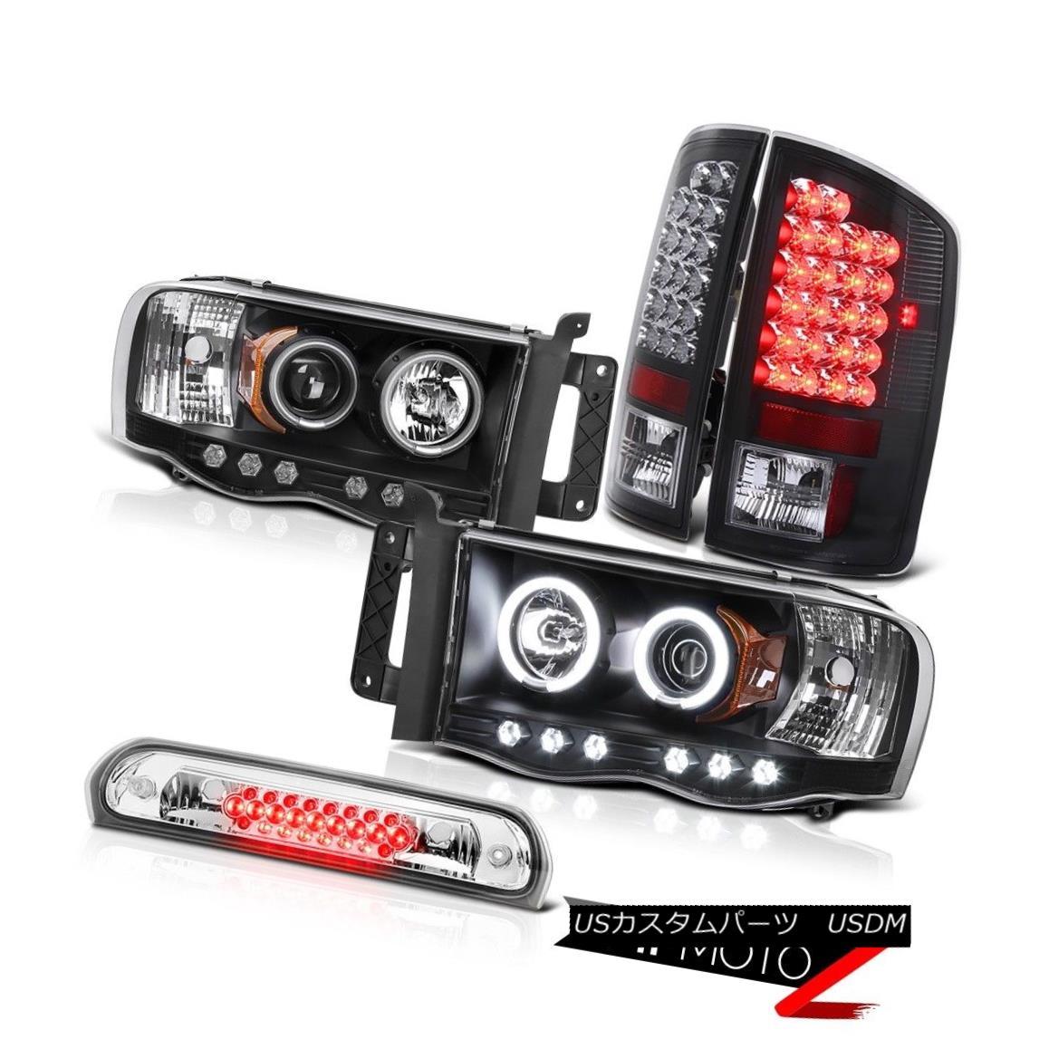 テールライト Black CCFL Halo Headlights LED Bulbs Tail Lamps Roof Stop Clear 2002-05 Ram 2500 ブラックCCFLハローヘッドライトLED電球テールランプルーフストップクリア2002-05 Ram 2500