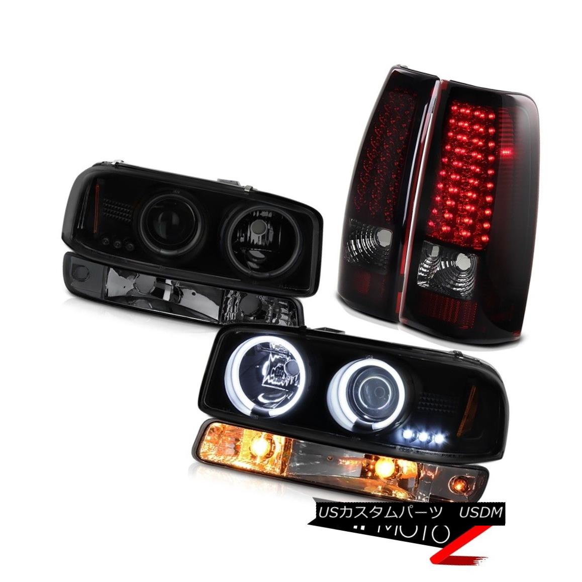 テールライト 99 00 01 02 GMC Sierra Smoked red led tail lights parking light ccfl Headlights 99 00 01 02 GMC SierraスモークレッドLEDテールライトパーキングライトccflヘッドライト