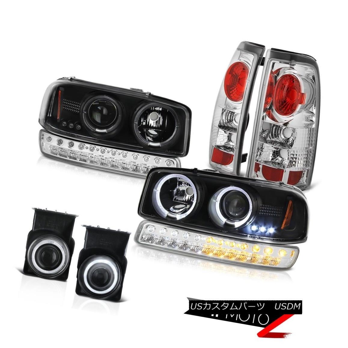 テールライト 03-06 Sierra SLT Chrome Fog Lights Parking Brake Light Infinity Black Headlights 03-06 Sierra SLTクロームフォグライトパーキングブレーキライトインフィニティブラックヘッドライト