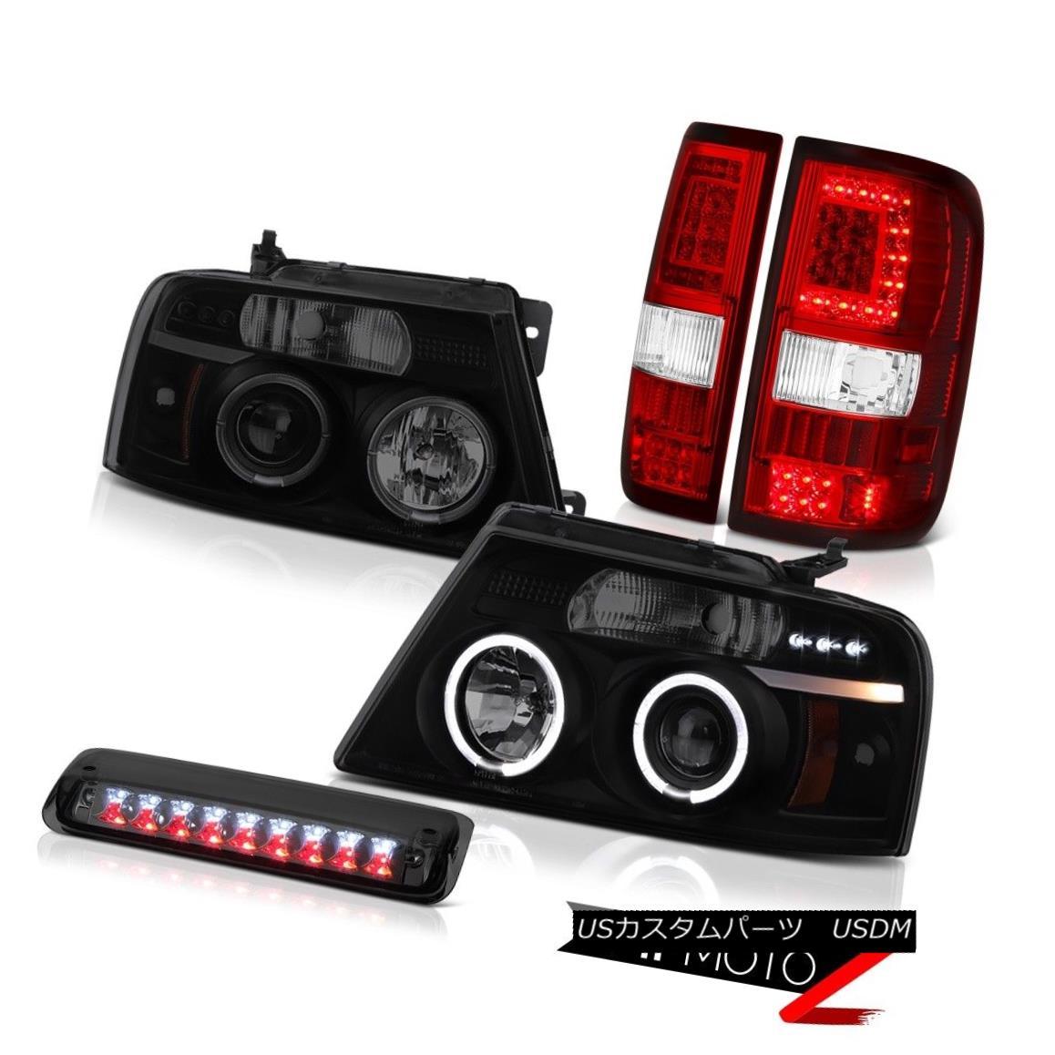 テールライト 04-08 Ford F150 Wine Red Tail Lights 3Rd Brake Sinister Black Head Set Pair L+R 04-08 Ford F150ワインレッドテールライト3RdブレーキシニスターブラックヘッドセットペアL + R