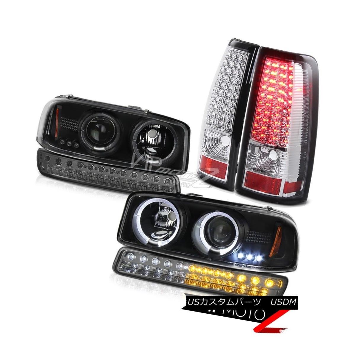 テールライト 99-06 Sierra SL Clear Chrome SMD Tail Lamps Smokey Signal Lamp Black Headlights 99-06シエラSLクリアクロムSMDテールランプスモーキーシグナルランプブラックヘッドライト