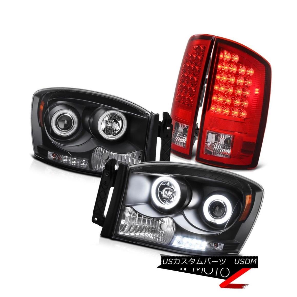 テールライト CCFL Black Halo Projector Headlight+LED Tail Light Assembly 2006 06 Dodge RAM V8 CCFLブラックハロープロジェクターヘッドライト+ LEDテールライトアセンブリ2006 06ドッジRAM V8