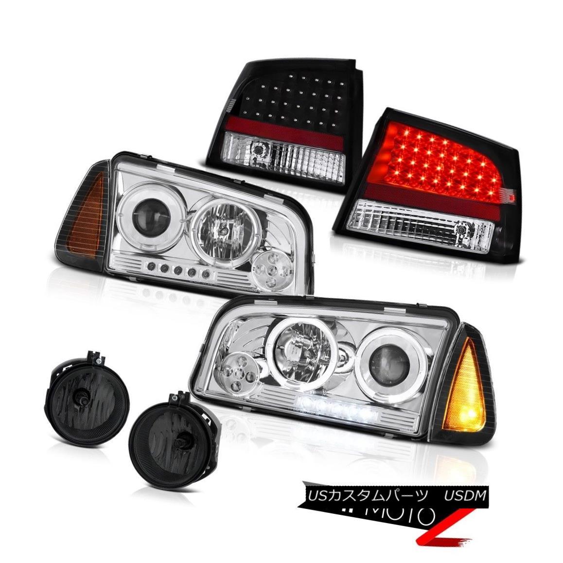 テールライト 06-08 Dodge Charger 2.7L Fog lamps black tail brake lights turn signal headlamps 06-08ダッジチャージャー2.7Lフォグランプブラックテールブレーキライト信号ヘッドランプ
