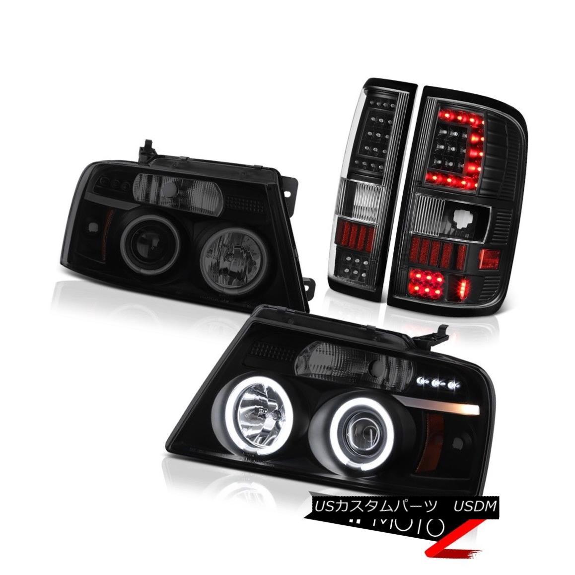 テールライト 04 05 06 07 08 Ford F150 F-150 Black Neon Tube Tail Lights Darkest Smoke Head 04 05 06 07 08フォードF150 F-150ブラックネオンチューブテールライトダークスモークヘッド