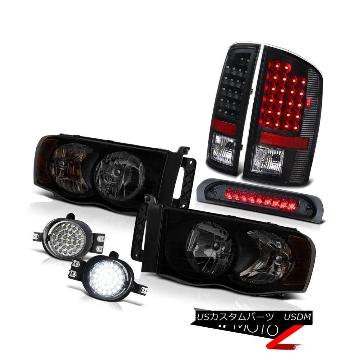 テールライト 2003-2005 Dodge Ram 2500 Ws Headlights Fog Lamps 3RD Brake Lamp Black Rear Lamps 2003-2005 Dodge Ram 2500 Wsヘッドライトフォグランプ3RDブレーキランプブラックリアランプ