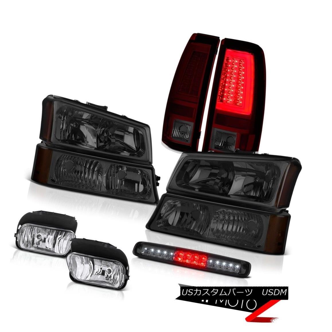 テールライト 03-06 Silverado Smokey Red Rear Brake Lamps Headlamps Fog 3RD Light Crystal Lens 03-06 Silveradoスモーキーレッドリアブレーキランプヘッドランプフォグ3RDライトクリスタルレンズ