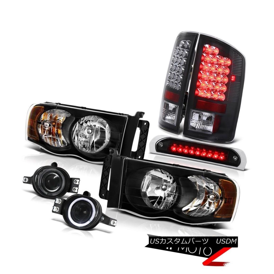 テールライト Black Headlamps LED Bulbs Tail Lights Halo Projector Fog 3rd Brake 02-05 Ram ST ブラックヘッドランプLED電球テールライトハロープロジェクターフォグ3rdブレーキ02-05 Ram ST