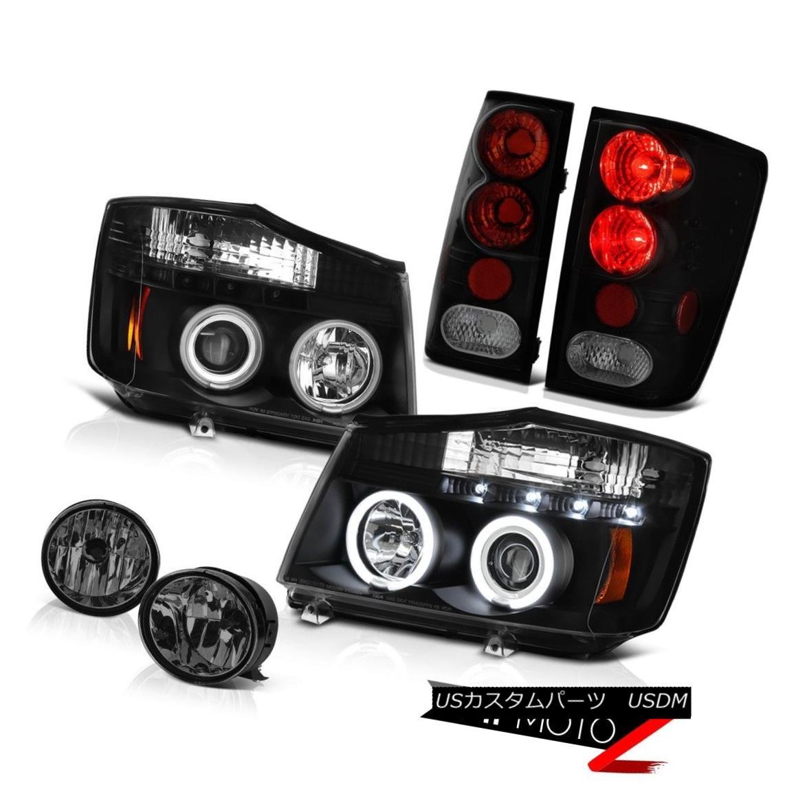 テールライト For 2004-2015 Titan Black CCFL Ring Headlights Tail Lights Lamp Smoke Tinted Fog 2004年?2015年タイタンブラックCCFLリングヘッドライトテールライトランプスモークティンドフォグ