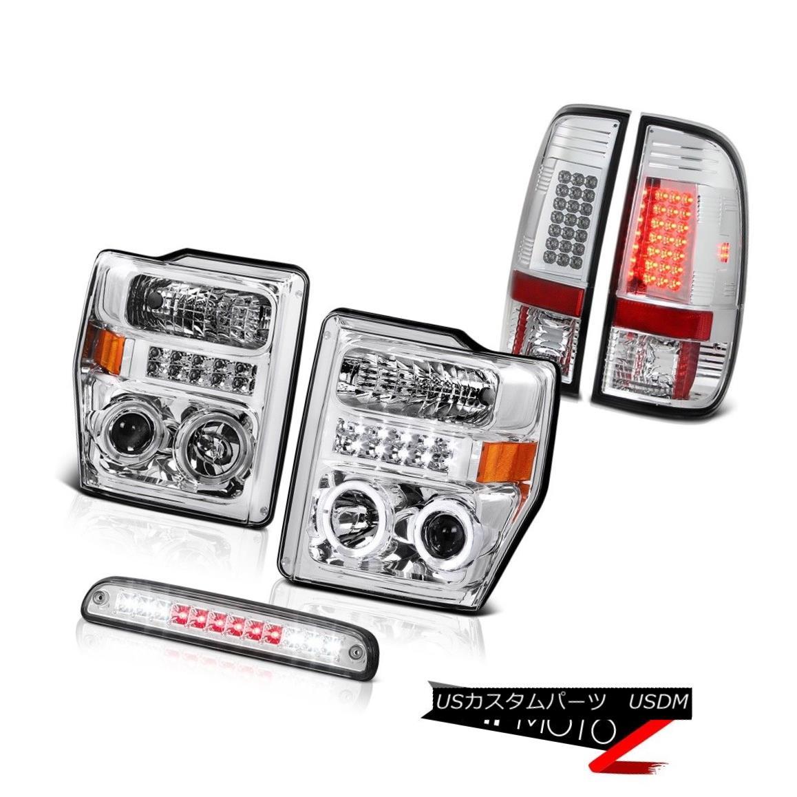 テールライト Euro Halo LED Headlights Third Brake SMD Rear Tail Lights 08 09 10 F350 6.3L ユーロHalo LEDヘッドライト第3ブレーキSMDリアテールライト08 09 10 F350 6.3L