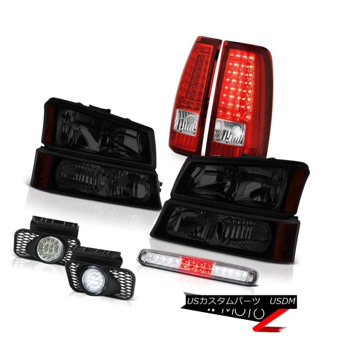 テールライト 03-06 Silverado 2500Hd Roof Brake Light Fog Lamps Red Tail Dark Tinted Headlamps 03-06 Silverado 2500Hdルーフブレーキライトフォグランプレッドテールダークティンテッドヘッドランプ