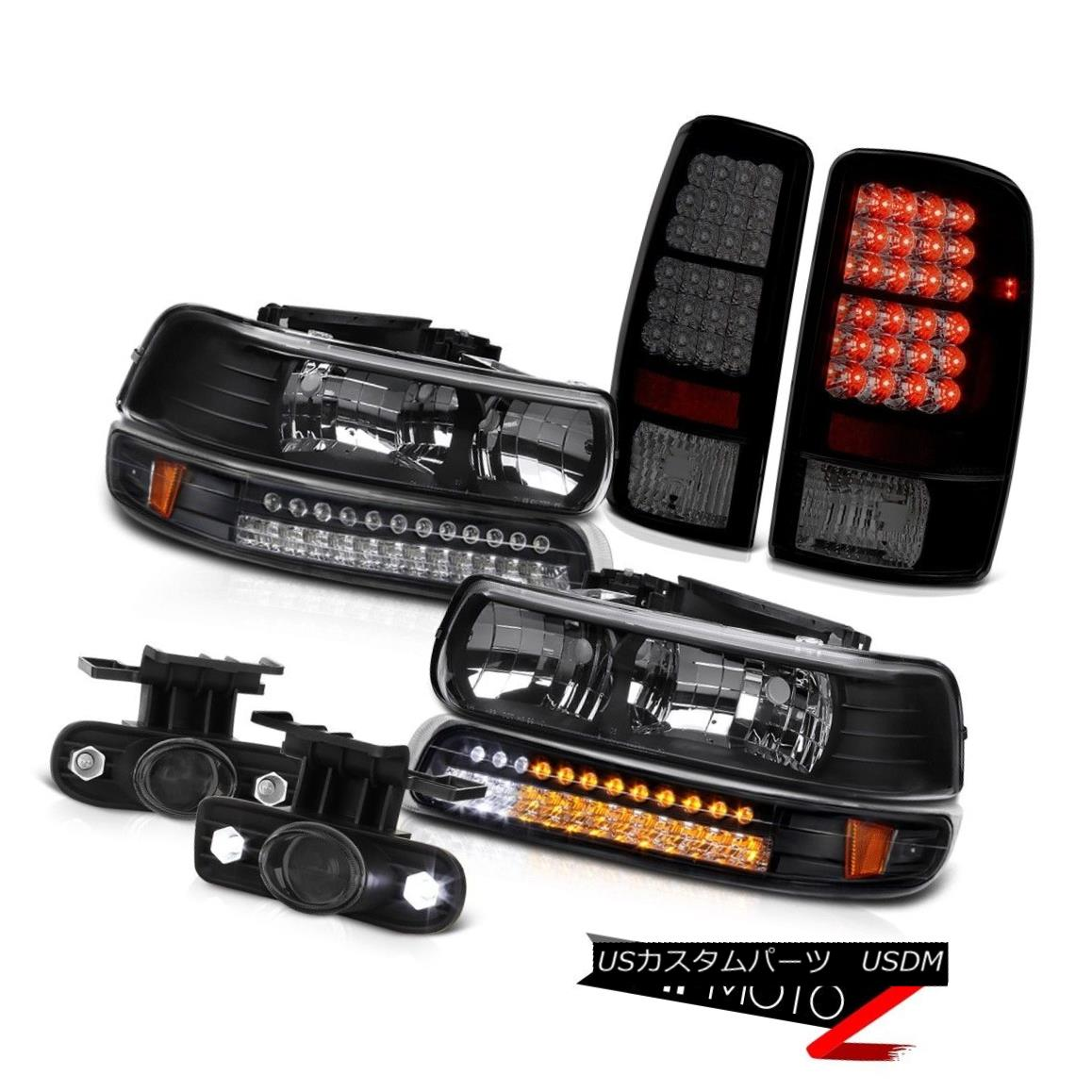 テールライト 00-06 Tahoe 4.8L LH+RH Black Headlamps SMD Bright LED Taillamps Projector Fog 00-06タホ4.8L LH + RHブラックヘッドランプSMD Bright LEDタイルランププロジェクターフォグ