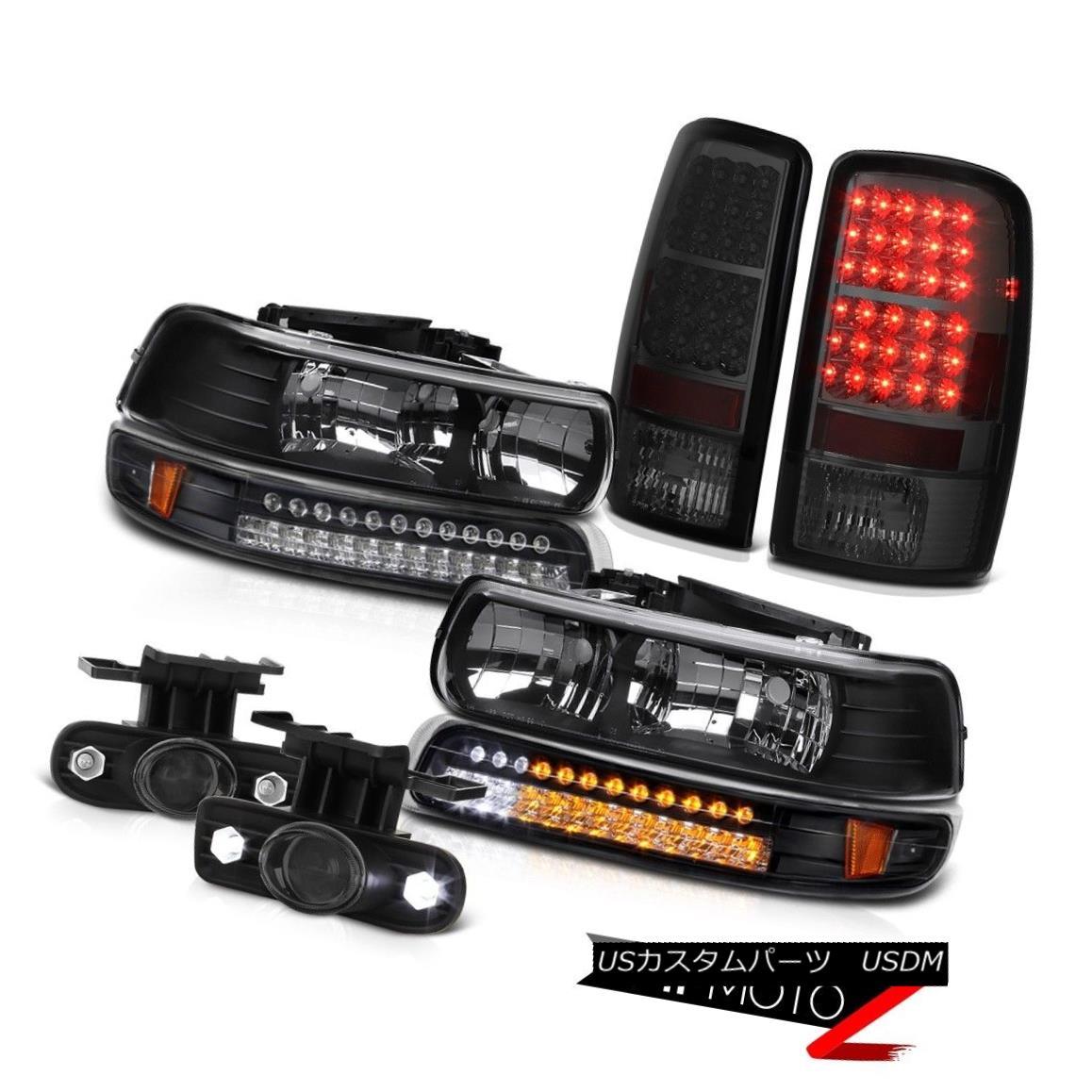 テールライト 00-06 Suburban 2500 Black Headlamps LED Smoke Taillights Projector Driving Fog 00-06郊外2500ブラックヘッドランプLED煙燈プロジェクタードライビングフォグ