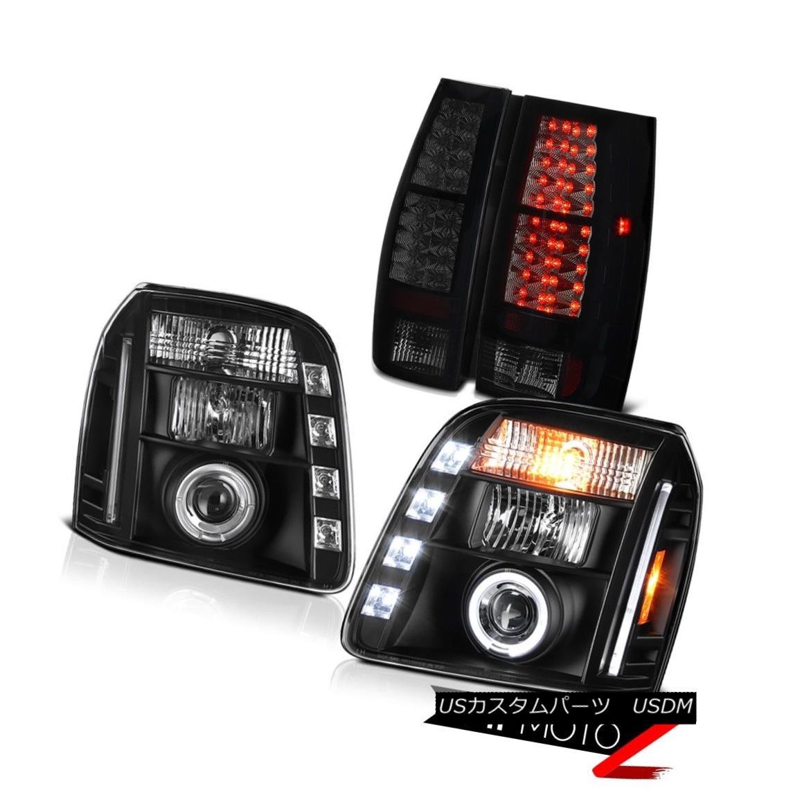 テールライト 07-14 GMC Yukon XL Denali Dark Tinted Tail Brake Lamps Black Headlamps Halo Rim 07-14 GMCユーコンXLデナリダークテールテールブレーキランプブラックヘッドランプハローリム